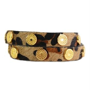Picture of Leopard Leather Wrap with Gold Studs
